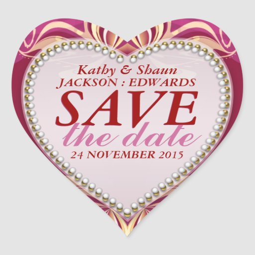 Pink Romance Save the Date Wedding Stickers