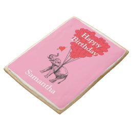 Pink romantic elephant happy birthday jumbo shortbread cookie