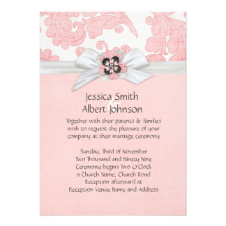 Pink Romantic Floral Ribbon Damask Wedding Invite