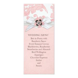 Pink Romantic Floral Ribbon Damask Wedding Menu Custom Announcements