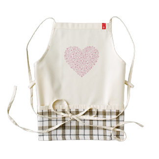 Pink romantic heart from pretty flowers zazzle HEART apron
