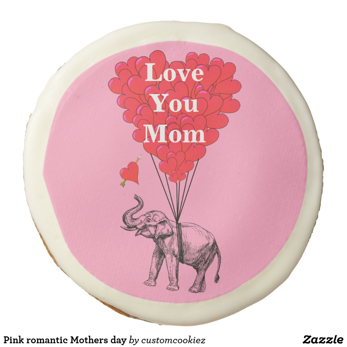 Pink romantic Mothers day Sugar Cookie