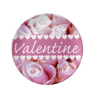 Pink romantic roses porcelain plates