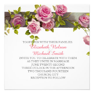 Pink Romantic Roses Wedding Invite