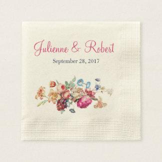 Pink Romantic Vintage Floral Wedding Cocktail Paper Napkin