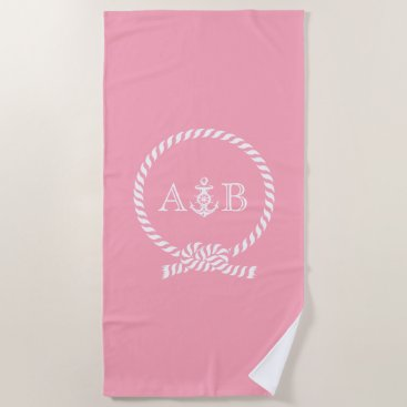 Beach Themed Pink Rope and Anchor Monogrammed Beach Towel