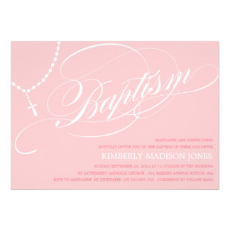 PINK ROSARY BEADS | BAPTISM INVITATION