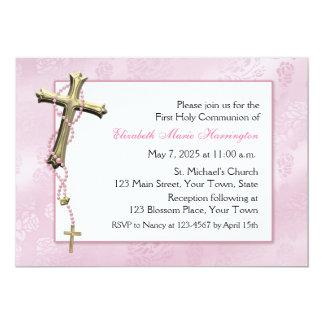 Pink Rosary Beads, Cross, Religious Custom Invitation