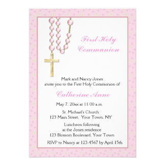 Pink Rosary Beads, Floral, Religious Invitation