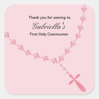 Pink Rosary Girls Communion sticker