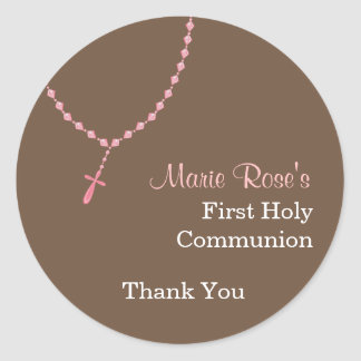 Pink Rosary Round Sticker