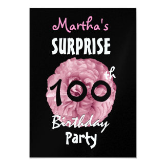 Pink Rose 100th SURPRISE Birthday Party W1309 Card