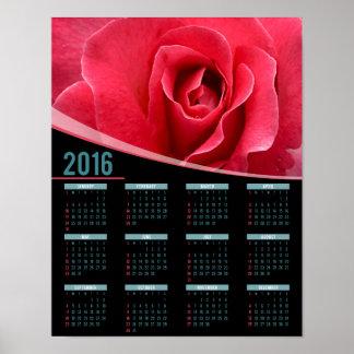 Pink rose 2016 poster calendar