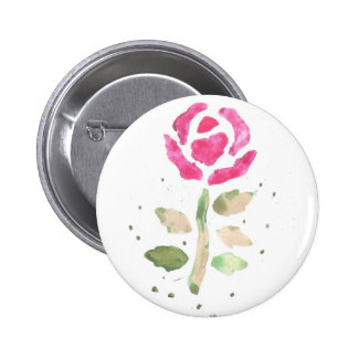 Pink Rose 2 (Watercolor by Kim Turnbull Art) Pinback Buttons