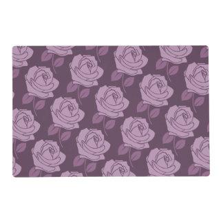 Pink Rose 2-Way Pattern on Plum Laminated Place Mat
