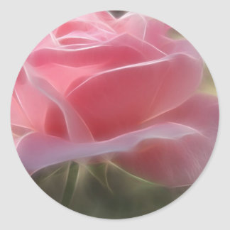 Pink Rose 3 Angelic Classic Round Sticker