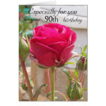 Pink Rose 90th Birthday Card