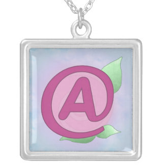 "Pink Rose ""A"" Pendant Necklace"