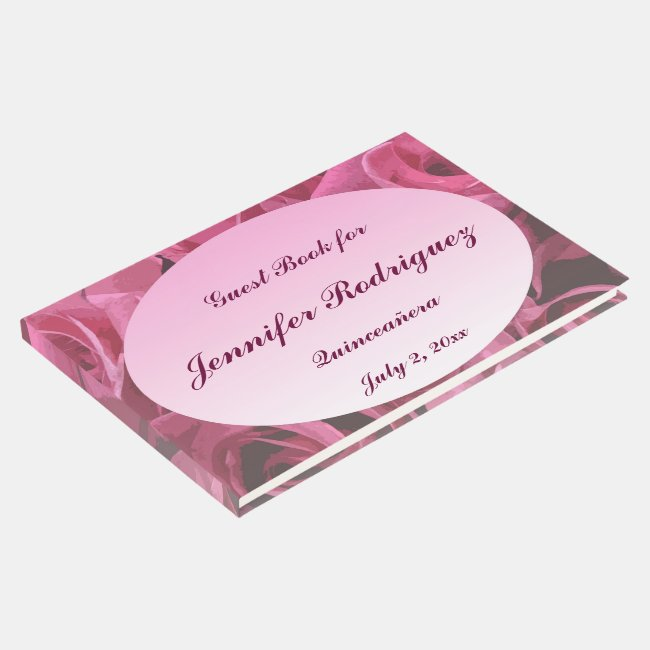 Pink Rose Abstract Quinceanera Guest Book