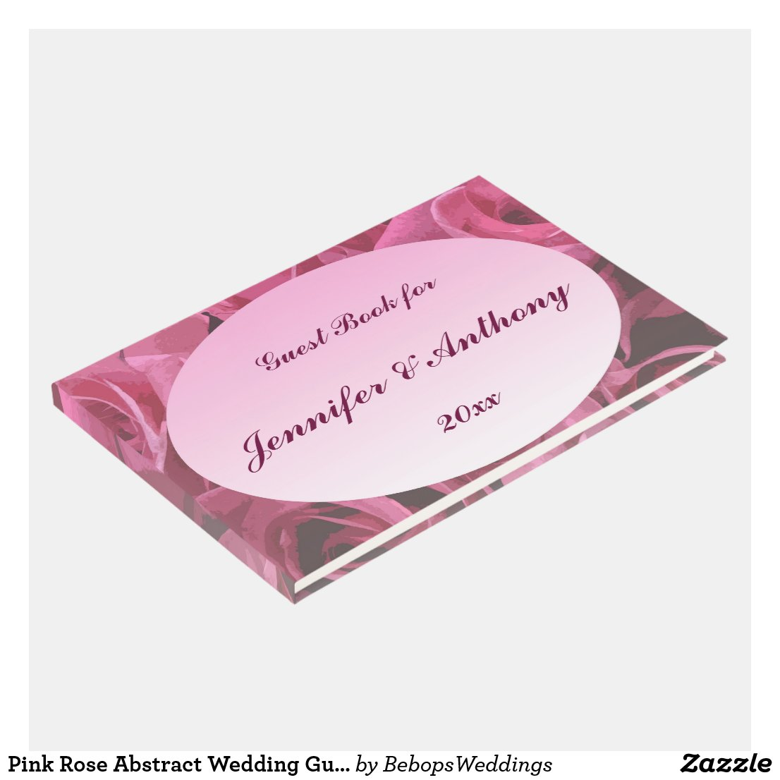 Pink Rose Abstract Wedding Guest Book