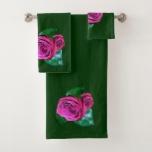 Pink Rose accent Dark Green Bath Towel Set