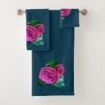 Pink Rose accent Dark Teal Bath Towel Set