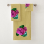Pink Rose accent Golden Bath Towel Set