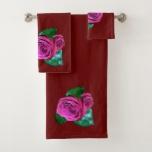 Pink Rose accent Maroon Bath Towel Set