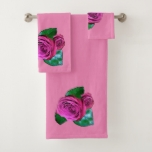 Pink Rose accent White Bath Towel Set