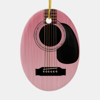 Pink Rose Acoustic Guitar Double-Sided Oval Ceramic Christmas Ornament