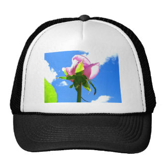 Pink Rose Against Blue Sky with Bright Clouds Trucker Hat