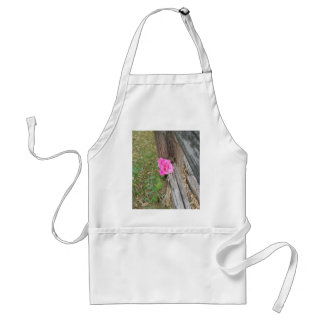 Pink Rose Against Wooden Fence Adult Apron