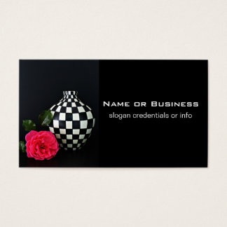 Pink Rose and a Checkered Vase Business Card