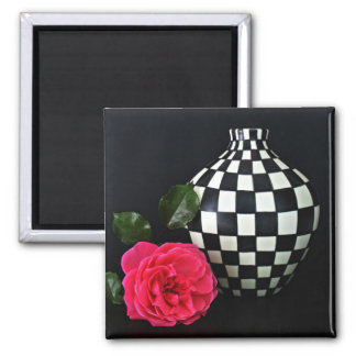 Pink Rose and a Checkered Vase Magnet