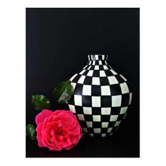 Pink Rose and a Checkered Vase Postcard