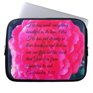 Pink Rose and Bible Verse on Laptop Bag