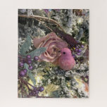 Pink Rose and Bird Christmas Jigsaw Puzzle