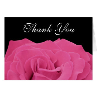Pink Rose and Black Thank You Card