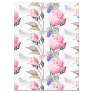 Pink Rose and Blue Butterflies Floral Tissue Paper