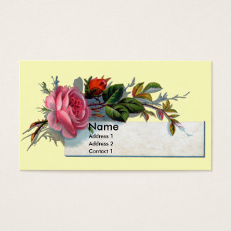 Pink Rose and Bud Victorian Business Card