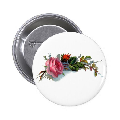 Pink Rose and Bud Victorian Buttons