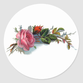 Pink Rose and Bud Victorian Classic Round Sticker