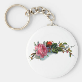 Pink Rose and Bud Victorian Keychain