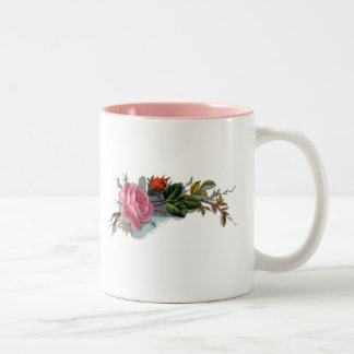 Pink Rose and Bud Victorian Two-Tone Coffee Mug