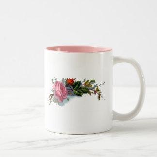 Pink Rose and Bud Victorian Two-Tone Coffee Mug