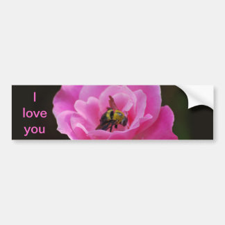 Pink Rose and bumble bee Bumper Sticker