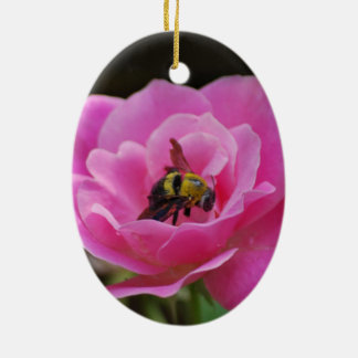 Pink Rose and bumble bee Ceramic Ornament
