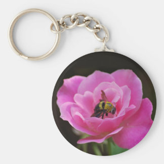 Pink Rose and bumble bee Keychain