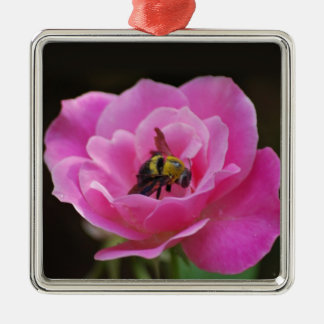 Pink Rose and bumble bee Metal Ornament