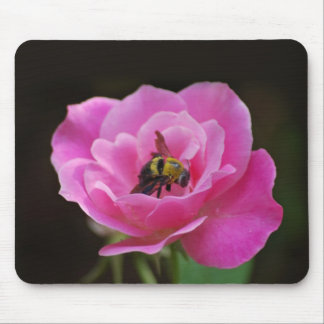 Pink Rose and bumble bee Mouse Pad
